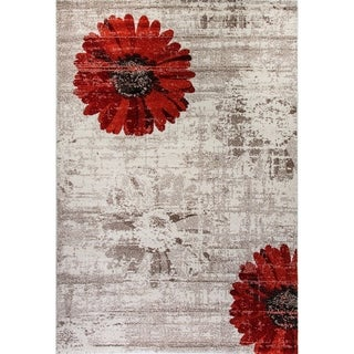 Eternity Daisy Ivory Red Rug (5'3 x 7'7)