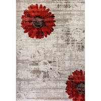 Eternity Daisy Ivory Red Rug - 5'3 x 7'7