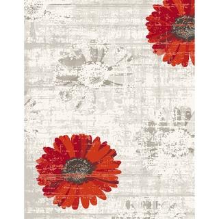 Eternity Daisy Ivory Red Rug (6'7 x 9'6)