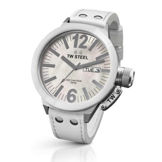 TW Steel Men's 'CEO Canteen' White Mother of Pearl Dial Watch