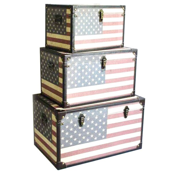 """Handmade Americana Trunk - 28"""" x 18"""" x 16"""""""