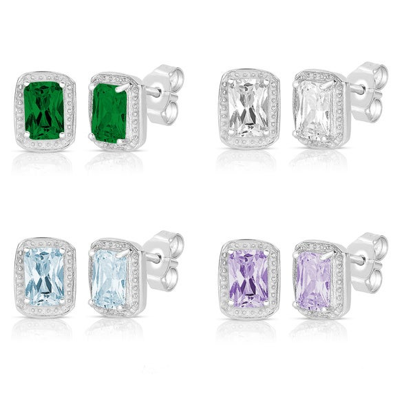 Sterling Silver Emerald-cut Colored Cubic Zirconia Stud Earrings