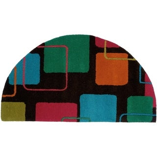 "Charcoal Abstract Half Moon Rug (1'10"" x 3'4"")"