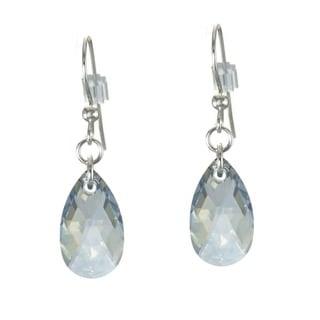 Jewelry by Dawn Sterling Silver Teardrop Medium Blue Crystal Pear Earrings