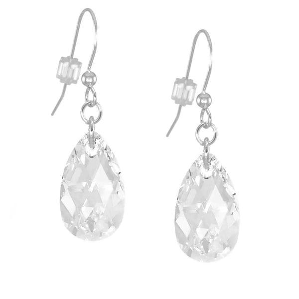 Handmade Jewelry by Dawn Sterling Silver Teardrop Clear Crystal Pear Earrings (USA)