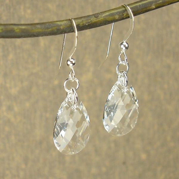 Handmade Jewelry By Dawn Sterling Silver Teardrop Clear Crystal Pear Earrings Usa