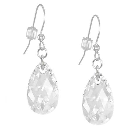 Handmade Jewelry by Dawn Sterling Silver Teardrop Clear Crystal Pear Earrings (USA)