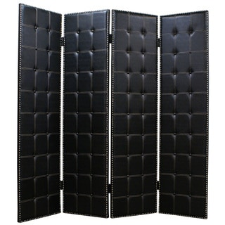 Handmade Brinkley 4-Panel Leather Screen (China)