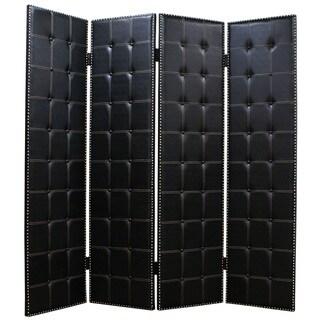 Handmade Brinkley 4-Panel Leather Screen (China)