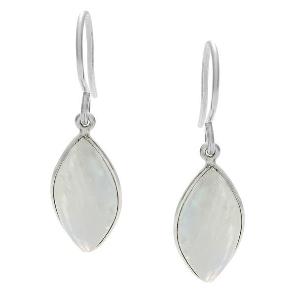 Rainbow Moonstone Silvertone Earrings (India)