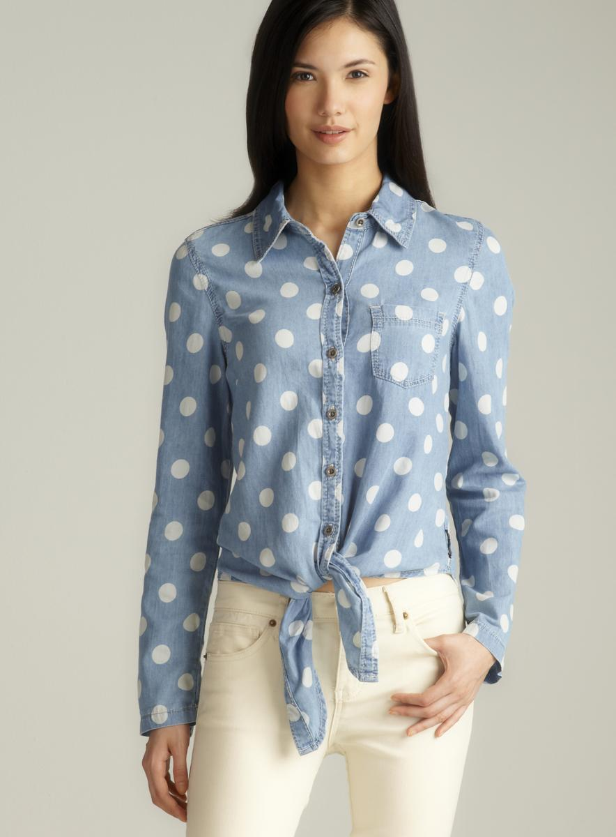 20cb8e19e17 Shop Seven7 Polka Dot Tie Front Button Down Denim Shirt - Free Shipping On  Orders Over  45 - Overstock - 8185747
