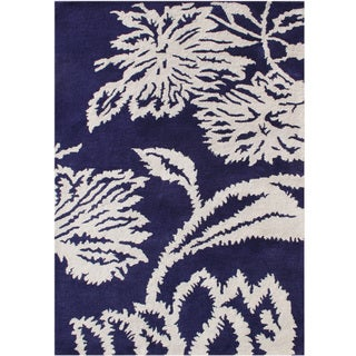 Alliyah Handmade Orient Blue New Zealand Blend Wool Rug (9'x12')