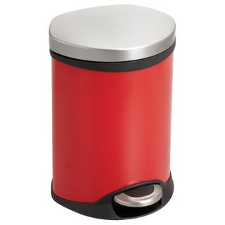 Safco Ellipse 1 1/2 gal. Step-on Waste Receptacle (Option: Red)