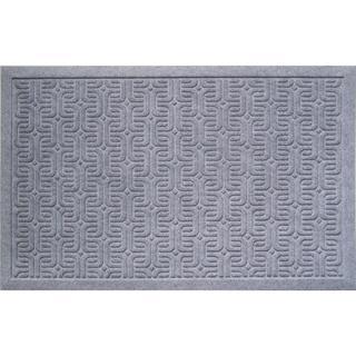Weather Beater Geometric Pattern Grey Doormat (1'10 x 2'11)