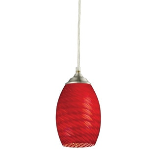 Jazz Brushed-nickel Red-glass 1-light Mini Pendant