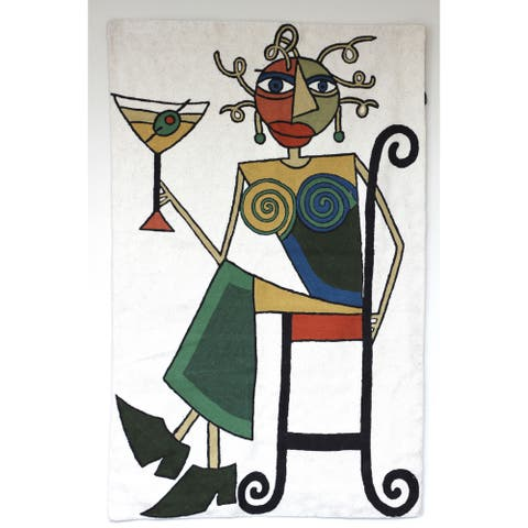Dundee Designs Martini Lady White Tapestry , Handmade in India