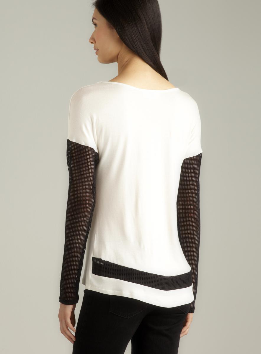 Jaye.e. Mesh Sleeve & Back Hem Jersey Top