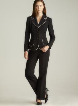 Tahari Brenda Three Button Piping Trim Petite Pant Suit