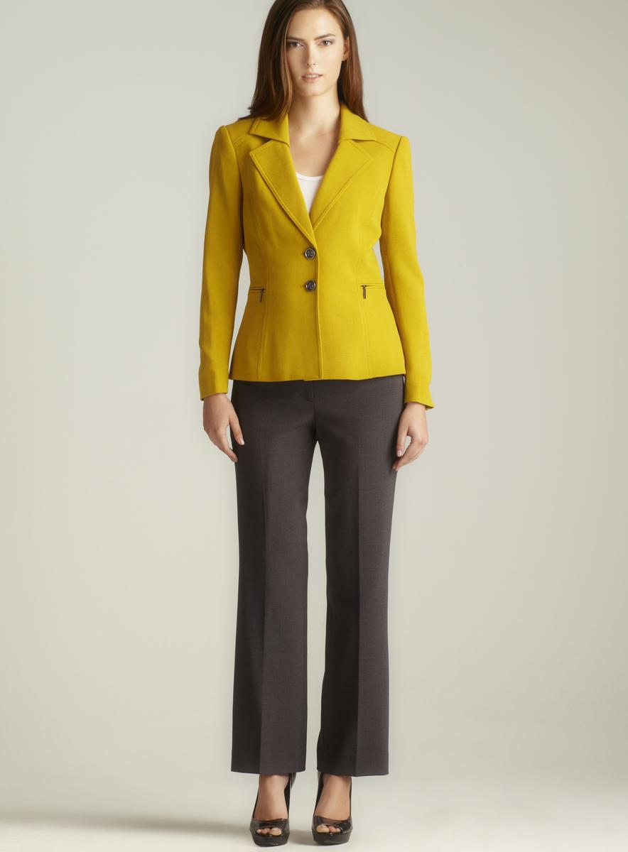 Tahari Juliette Two Button Zip Pocket Petite Pant Suit