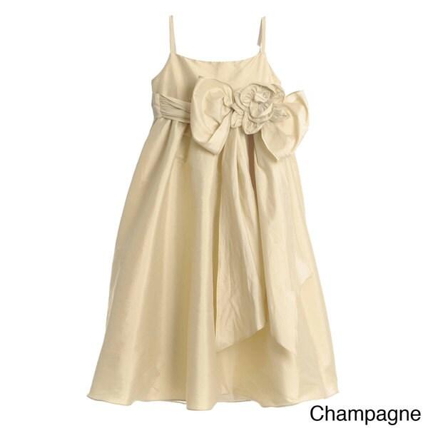 US Angels Girls Formal Beaded Rosette Dress