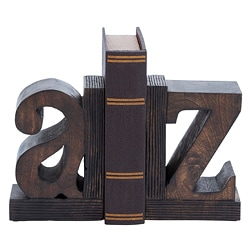 A to Z Artisan Hand-carved Wood Bookends