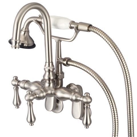 Water Creation Brushed Nickel Adjustable Spread Wall Mount Gooseneck Spout Tub Faucet, Swivel Wall Connector, Handheld Shower