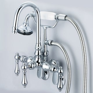 Water Creation Chrome Adjustable Spread Wall Mount Tub Faucet With Gooseneck Spout, Swivel Wall Connector and Handheld Shower