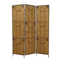 Handmade Lone Star 3-Panel Wood and Metal Screen (China)