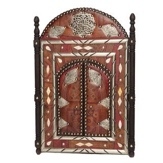 Artisan Leather Moroccan Mirror with Doors (Morocco)
