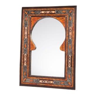 Handmade Keyhole Arch Inlaid Moroccan Mirror (Morocco)