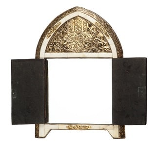 Arched White Bone Moroccan Mirror with Doors (Morocco)