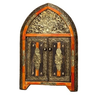 Arched Henna Bone Moroccan Mirror with Doors , Handmade in Morocco