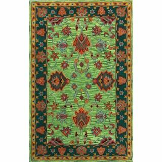 nuLOOM Handmade Overdyed Traditional Green Wool Rug (5' x 8')