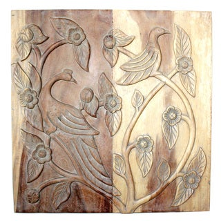 30-Inch Square Agate Grey Oil Roosting Birds Wall Panel (Thailand)