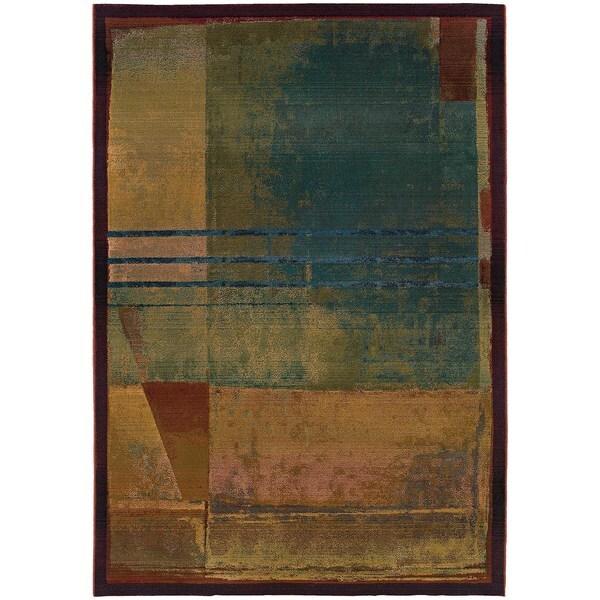 "Karsyn Modern Abstract Red/Green Area Rug - 7'10"" x 11'"