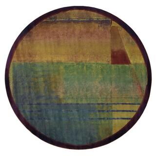 Kharma II Red/ Green Rug (6' Round)