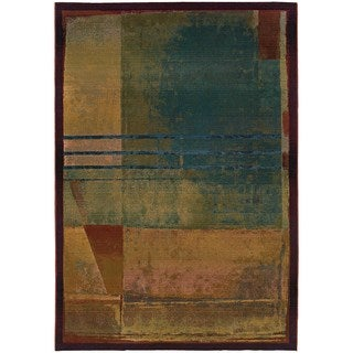 Karsyn Modern Abstract Red/Green Area Rug - 2' x 3'