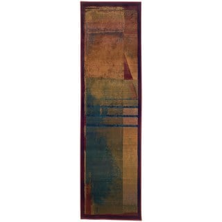 "Karsyn Modern Abstract Red/Green Area Rug - 2'3"" x 7'6"" Runner"