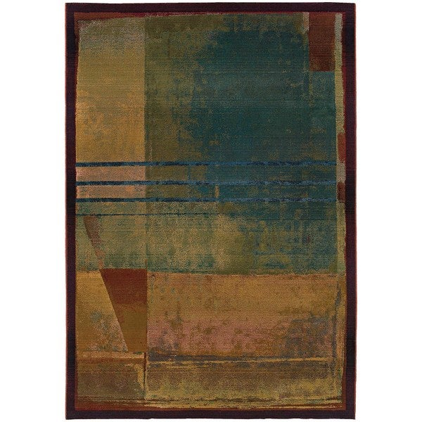 "Karsyn Modern Abstract Red/Green Area Rug - 2'3"" x 4'5"""