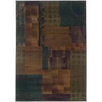 """Kharma II Blue/ Green Rug (5'3 X 7'6) - 5'3"""" x 7'6"""""""