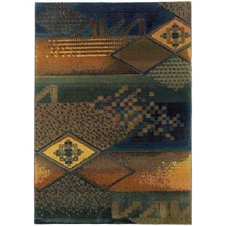 "Karsyn Contemporary Tribal Blue/Green Area Rug - 7'10"" x 11'"