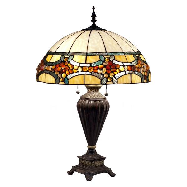 Tiffany Style Jade Stone Emperor Table Lamp