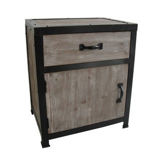 Handmade Distressed Wood One-Drawer End Table (China)
