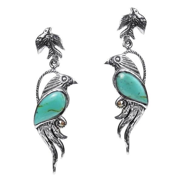 61f0fbafd Shop Handmade Mythical Phoenix Bird Marcasite .925 Silver Earrings ...