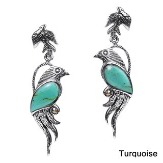 Mythical Phoenix Bird Marcasite .925 Silver Earrings (Thailand)