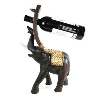 Joyous Elephant Carved Rain Tree Wooden Wine Bottle Holder (Thailand)
