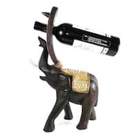 Handmade Joyous Elephant Carved Rain Tree Wooden Wine Bottle Holder (Thailand)