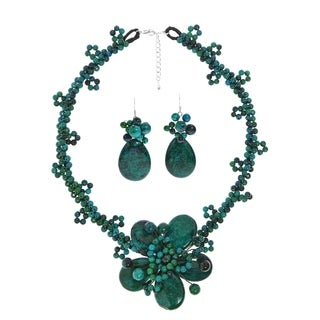 Handmade Sweet Floral Fantasy Malachite Stones Jewelry Set (Thailand)