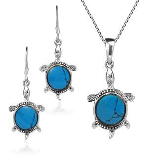 Handmade Chic Gemstone Sea Turtles .925 Stering Silver Jewelry Set (Thailand)