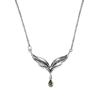 Handmade Angel Wings Gemstone Teardrop 925 Silver Necklace Thailand